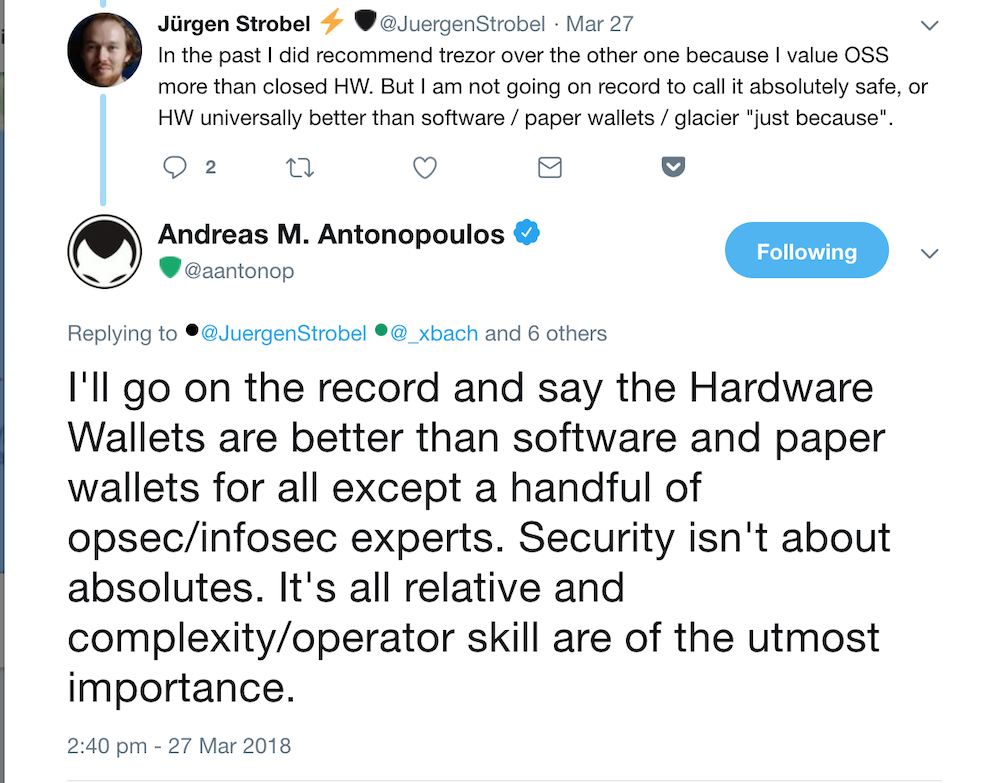 Andreas Antonopoulos Hardware Wallets Comment