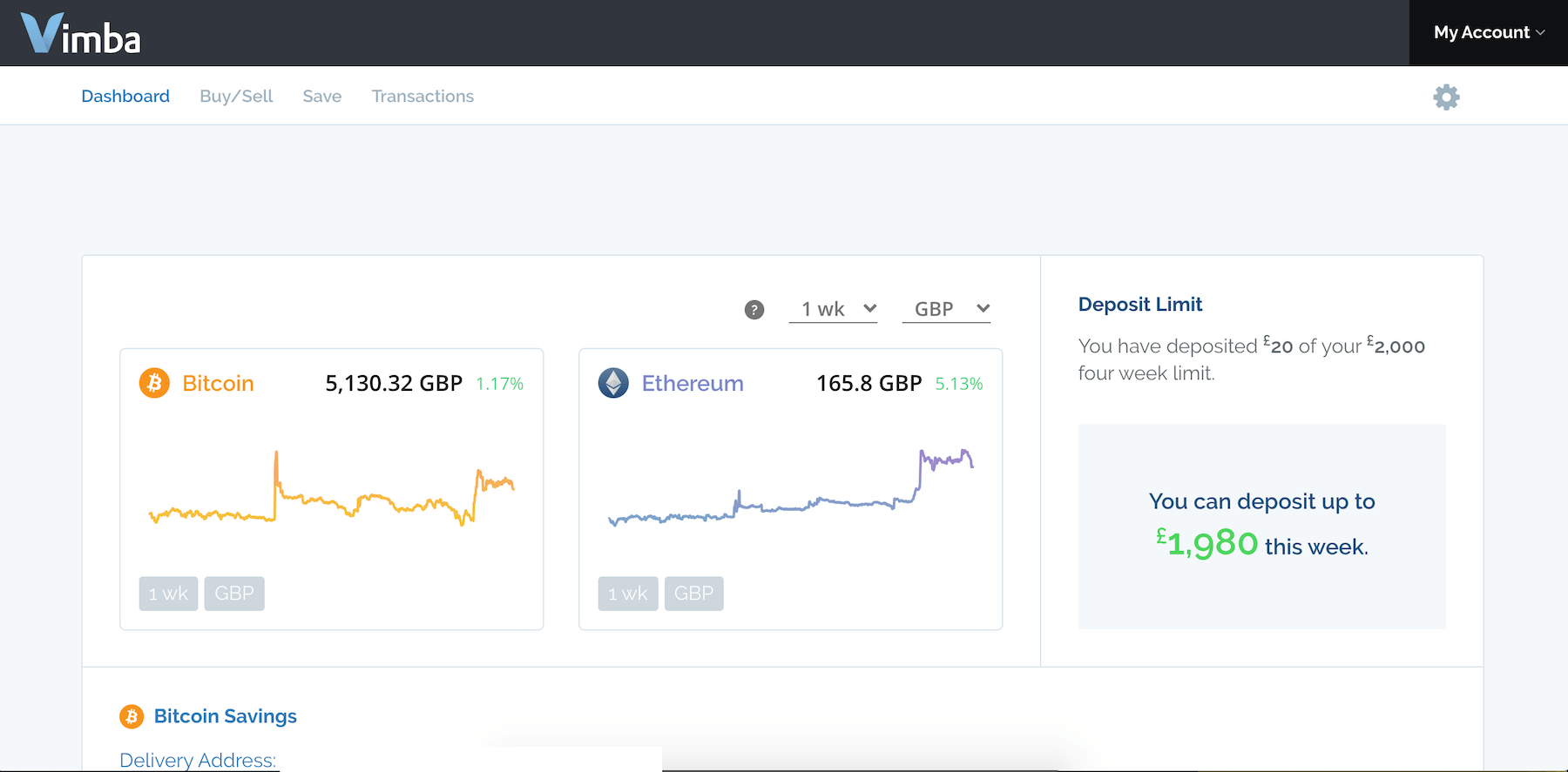 Vimba.co website dashboard